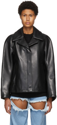 we11done Black Faux-Leather Jacket