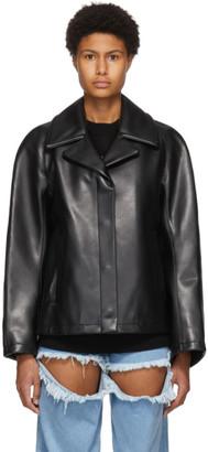 we11done Black Faux-Leather Jacket