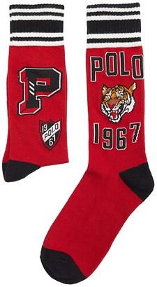 Polo Ralph Lauren Mismatch Collegiate P Crew (Red) Men's Crew Cut Socks Shoes