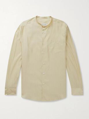 Odyssee Edwards Grandad-Collar Striped Silk And Cotton-Blend Shirt