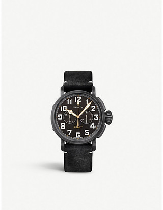 Zenith 11.2432.4069/21.C900 Pilot Type 20 stainless steel and leather chronograph watch