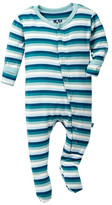 Kickee Pants Print Footie in Boy Dino Stripe (Baby & Toddler Boys)