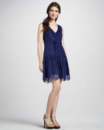 Ali Ro Lace Dropped-Waist Dress