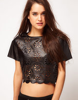 Asos Top With Laser Cut Broderie