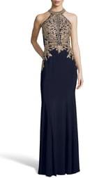 Xscape Evenings Lace Applique Open Back Trumpet Gown