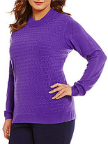 Allison Daley Plus Mock Neck Solid Pullover Sweater