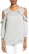 Bobeau Petite Women's Ruffle Cold Shoulder Sweatshirt