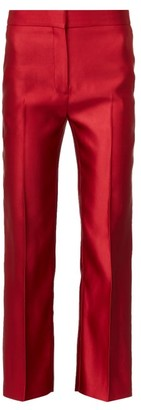 Alexander McQueen High-rise Silk-satin Cigarette Trousers - Red