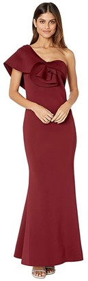 Badgley Mischka Asymmetrical Floral Sculpture Gown (Burgundy) Women's Dress