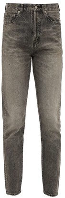 Saint Laurent Distressed High-rise Straight-leg Jeans - Womens - Grey