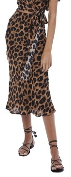 Allison New York Women's Leopard Midi Slip Skirt