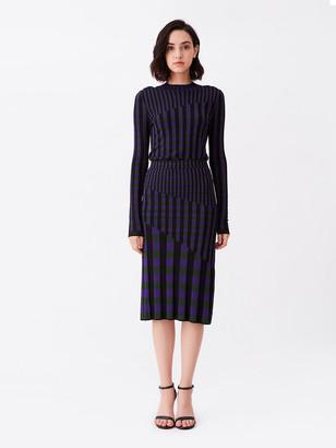 Diane von Furstenberg Rosa Ribbed Knit Fitted Skirt