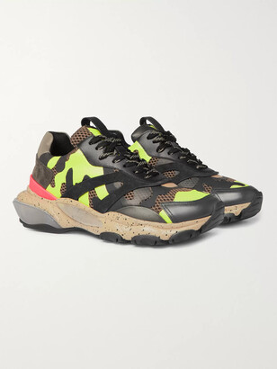 Valentino Garavani Bounce Camouflage-Print Leather, Mesh And Suede Sneakers