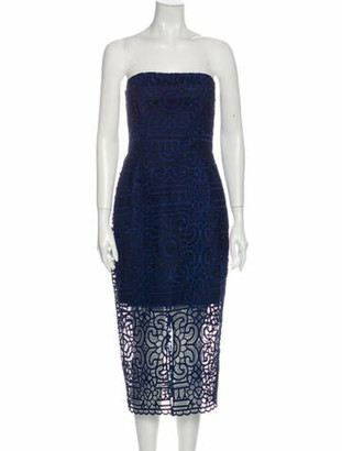 Nicholas Lace Pattern Midi Length Dress w/ Tags Blue