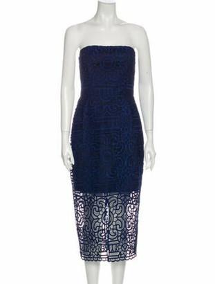 Nicholas Lace Pattern Midi Length Dress w/ Tags Blue