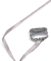 Silver-Plated & Pink Ornate Square Personalized Pacifier Holder