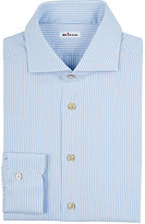 Kiton Men's Multi-Striped Cotton Twill Shirt-NAVY, WHITE, RED