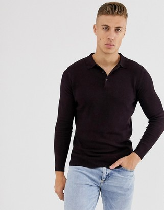 Brave Soul knitted long sleeve polo in red