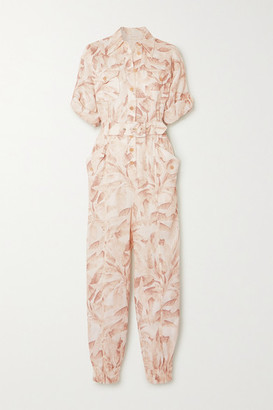 Zimmermann Super Eight Belted Printed Linen Jumpsuit - Ivory