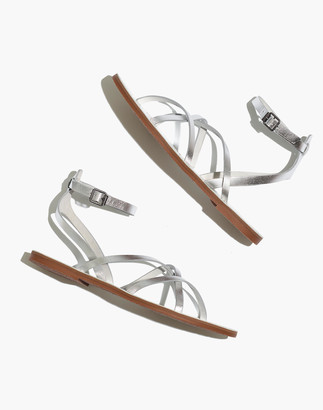 Madewell The Boardwalk Skinny-Strap Sandal in Metallic Leather