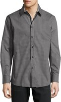 English Laundry Micro-Print Button-Front Sport Shirt, Black