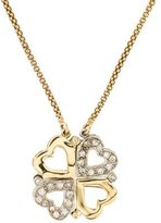 14K Diamond Clover & Heart Pendant Necklace