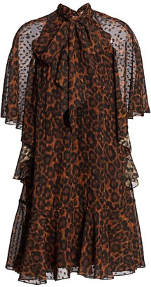 Erdem Elviretta Jacquard Leopard Flounce Dress