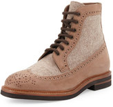 Brunello Cucinelli Suede & Felt Lace-Up Hiking Boot