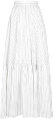 Plan C Striped cotton-poplin maxi skirt