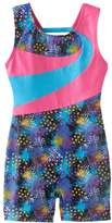 Jacques Moret Girls 4-14 Splatter Colorblock Biketard Leotard