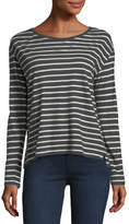 Majestic Paris for Neiman Marcus Long-Sleeve Striped Cotton/Cashmere Boat-Neck T-shirt