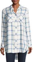 Go Silk Long-Sleeve Button-Front Plaid Shirt, Blue/White