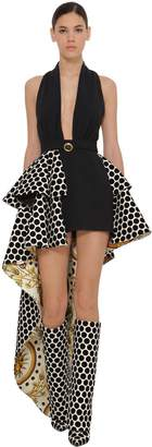 Fausto Puglisi Stretch Cady & Printed Velvet Dress