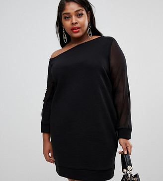 ASOS DESIGN Curve off shoulder sweat dress with mesh sleeve