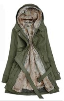Yinhan YH Women's Winter Midi Pattern Cotton-padded Thick Trench Coat Army S