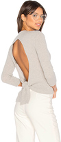 Autumn Cashmere Tie Back Crop Sweater in Gray