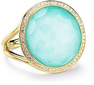 Ippolita 18kt yellow gold medium Lollipop turquoise and diamond ring