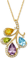 Macy's Multi-Stone (3 ct. t.w.) and Diamond (1/5 ct. t.w.) Pendant Necklace in 14k Gold
