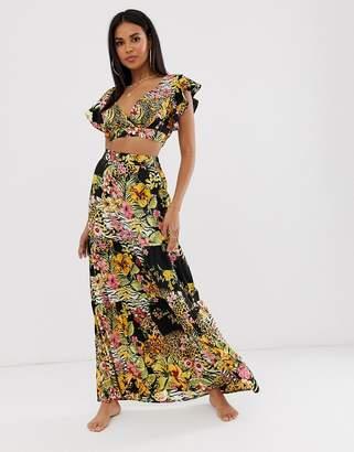 Asos Design DESIGN tiered ruffle beach maxi skirt in glam safari tropical print two-piece-Multi
