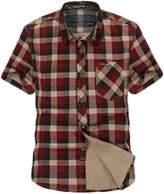 Insun Men's 100 Cotton Plaid Short Sleeve Button Down Shirt XL Red