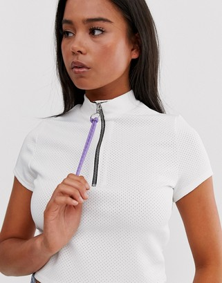 Asos Design DESIGN sporty mesh top with neon bungee cord-White