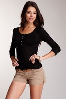 Michael Stars 3/4 Sleeve Ribbed Henley Top