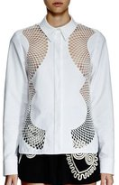 Stella McCartney Long-Sleeve Mesh-Inset Blouse, White