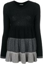Twin-Set tri-colour ruffle sweater - women - Polyamide/Viscose/Wool/Alpaca - S