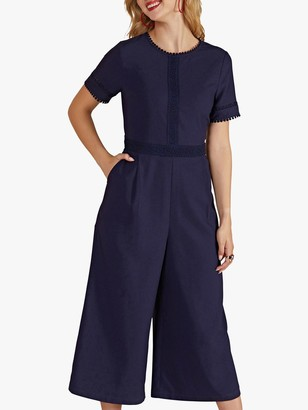 Yumi Lace Trim Cropped Jumpsuit, Navy
