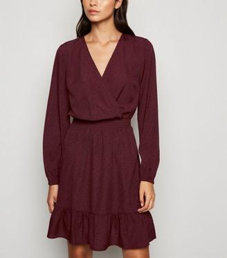 New Look Burgundy Spot Frill Wrap Dress