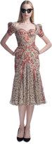Zac Posen Harlem Rose Print Pouf Sleeve Cocktail Dress