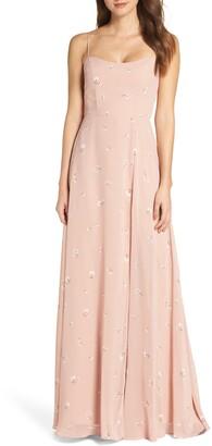 Jenny Yoo Kiara Floral Print Chiffon Evening Gown