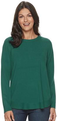 Croft & Barrow Women's Curved-Hem Crewneck Sweater