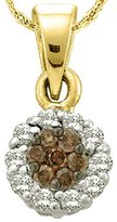 DazzlingRock Collection 0.25 Carat (ctw) 14k Yellow Gold White & Diamond Ladies Cluster Flower Pendant